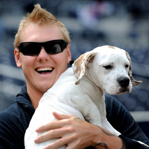 Mat Latos and Meatball (Beagle/Bulldog Mix)